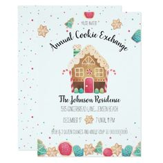 Cute Gingerbread House Holiday Cookie Exchange Invitation Holiday Invitations, Party Invitations, Gingerbread House Candy, Chocolate Festival, Sprinkle Cookies, Cute Cookies, Cookie Exchange, Party Themes, Theme Parties