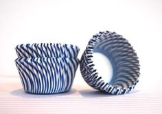 $3.25 Blueberry Blue and White Stripe Cupcake Liners (45)