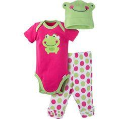 Gerber Newborn Baby Girls' 3-Piece Bodysuit, Ruffle Legging and Cap Outfit Set