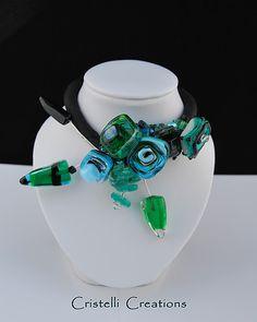 zwart/blauw/groen Silk, Beads, Beading, Pearls, Bead Weaving, Seed Beads, Beaded Necklace, Bead