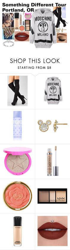 """Something Different Tour Portland, OR"" by imthelifeoftheparty ❤ liked on Polyvore featuring Moschino, Victoria's Secret PINK, Disney, Milani and MAC Cosmetics"