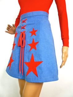 HUZZAR DESIGN 70s Denim Miniskirt With Suede Star by HuzzarHuzzar