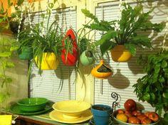 vintage hanging flower pots