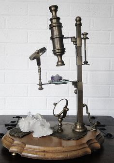 Vintage Brass Alchemy Microscope Display by GrayVervain on Etsy, $199.00