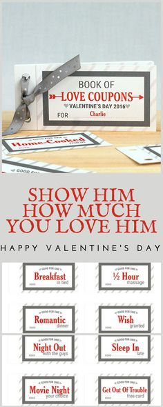 Personalized Love Coupon Book For Him, couple gift, valentine's day, gift for boyfriend, valentine's day gift, valentine coupon #ad