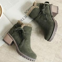 5386fcde9356 Female Winter Shoes Fur Warm Snow Boots Chunky Heels Ankle Boots Winter  Shoes