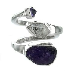 Sterling Silver Herkimer Diamond & Amethyst Two Row Bypass Ring by Lilly Barrack - Fire and Ice