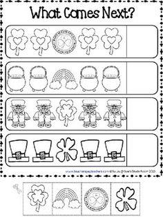PATTERNS: St. Patrick's Day Patterns Printables Life Skills Lessons, Teaching Life Skills, St Patricks Day Crafts For Kids, St Patrick's Day Crafts, Kindergarten Math Games, Pattern Worksheet, St Patrick Day Activities, Math Patterns, St Paddys Day