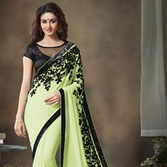 Light Neon Green Faux Georgette Saree with Blouse