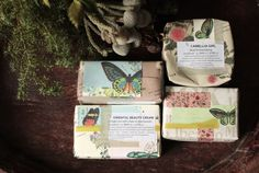 Gorgeous packaging with vintage graphics from Come Home Soap. The soaps themselves are beautiful too!