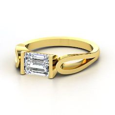 Loop de Loop Ring, Emerald-Cut Diamond Yellow Gold Ring from Gemvara