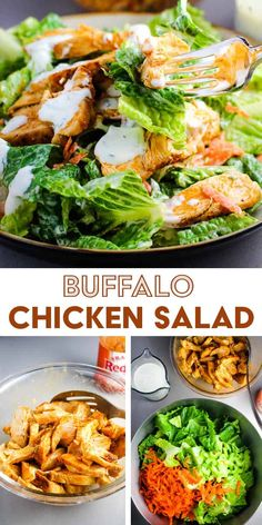 Juicy chicken breast pieces tossed in spicy homemade buffalo sauce top this crunchy and refreshing buffalo chicken salad. All the flavor of buffalo wings without the guilt! Best Salad Recipes, Spicy Recipes, Easy Chicken Recipes, Healthy Chicken, Chicken Salad, Thai Chicken, Healthy Recipes, Healthy Breakfasts, Healthy Meals