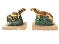 French 50s bookends.Mid century gold and marble panther lioness sculpture. Paper weight. Office desk paper weight. Home and living.