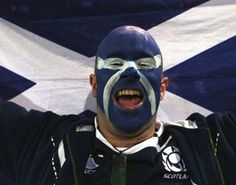 Rugby Body Painting, (Scottish fans)