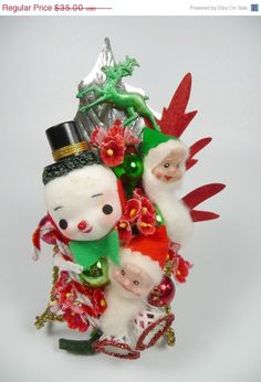 Christmas Corsage Vintage Snowman Elves Reindeer Retro Red Green Decoration Stocking Stuffer