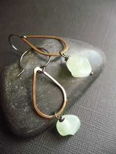 Pistache and Copper Earrings by lacokine on Etsy, $24.00