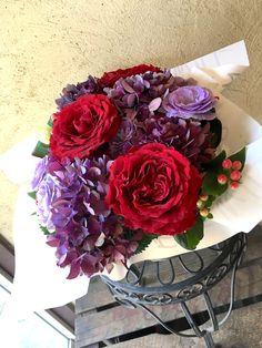 【古稀祝いには紫、バラとアジサイのアレンジ】