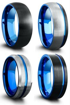 Unique Mens Wedding Rings. Blue, black, and silver tungsten wedding rings. Three of these rings have been designed with a blue carved channel running through the top of the ring.