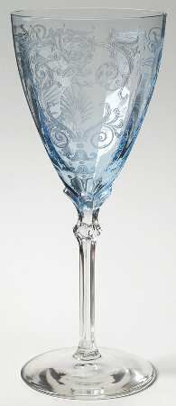 """Versailles"" glass pattern with etched Rococo damask swirls in pastel blue from Fostoria."