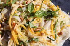 Thin strips of brightly colored zucchini create the delicate angel hair affect, then its all tossed with a creamy – yet dairy free, lemony sauce Related posts: Pasta with Lemon Asparagus & Hazelnut Gremolata Light tasting pasta dish with a... Butter & Sage Spaghetti Squash with Toasted Pine Nuts Fresh velvety soft sage leaves make... …
