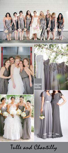 Sharkskin grey bridesmaid dresses ideas for autumn and fall weddings