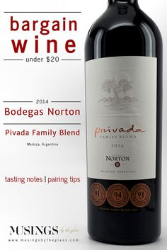 Musings by the Glass - Bargain Wines - Bodegas Norton Privada Family Blend (Malbec, Merlot, Cabernet Sauvignon) from Mendoza, Argentina