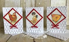 handmade notecard set by Linda Fwee ... fun chickens .. great use of barbed wire background ... Stampin' Up!