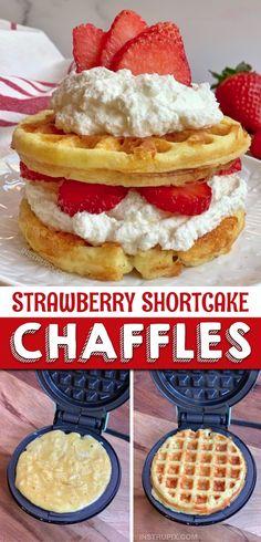 Strawberry Shortcake Chaffles - Keto: Sweets and Treats - Easy & Sweet Keto Dessert Chaffles Recipe (Strawberry Shortcake) - Mini Desserts, Low Carb Desserts, Easy Desserts, Low Carb Recipes, Dessert Recipes, White Desserts, Crepes, Keto Waffle, Low Carb Sweeteners