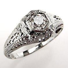 689.00 and LOVELY   Vintage Diamond Engagement Ring Filigree 18K White Gold 1950's