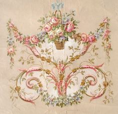 A worthy goal: Rococo pattern painted by Christie Repasy Decoupage Vintage, Vintage Paper, Vintage Art, Arabesque, Decoration Baroque, Illustration Blume, French Decor, Vintage Flowers, Vintage Floral