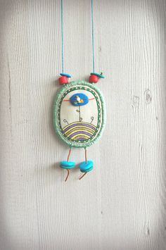 Fabric Necklace, hand drawn necklace polymer clay beads necklace, textile pendant, fabric jewelry, textile jewelry, painted pendant, long