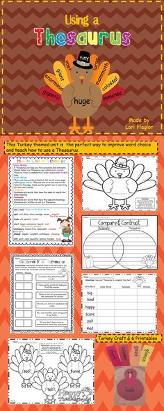 Perfect way to teach using a Thesaurus during the Thanksgiving season.