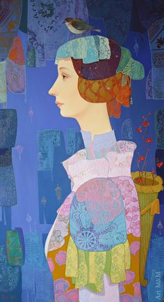 The piping bird by Maia Ramishvili....I love this image...cherish the bird perched on her head