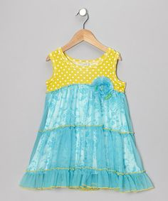 Take a look at this Blue & Yellow Ruffle Flower Dress - Toddler & Girls by Haute Baby on #zulily today!