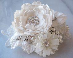 Ivory Hair Flower, Bridal Fascinator, Rhinestone and Pearl Bridal Flower - MUSE $74