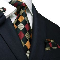 Checked Orange,Brown and Black Toramon Silk Tie Set JPM458 – Toramon Necktie Company