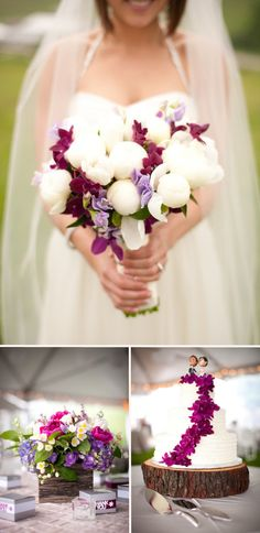 White Peonies and Purple Sweet Peas // #wedding #bouquet #flowers