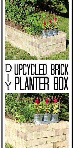 DIY Upcycled Brick Planter Box