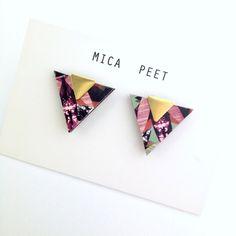 Triangle Earrings Geometric Earrings Laser Cut Wood & Brass Geometric Jewellery Triangle Jewellery - Multi Pattern by MicaPeet on Etsy https://www.etsy.com/listing/193211239/triangle-earrings-geometric-earrings