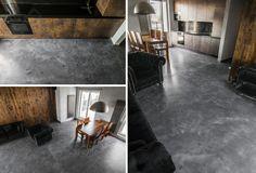 podłoga z betonu w mieszkaniu z mikrocementu; mikrocement;