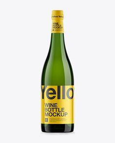 750ml Green Glass Burgundy Wine Bottle Mockup. Preview