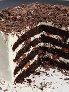 This Black Forest Cake has four layers of chocolate cake with whipped cream frosting between the layers! http://sulia.com/channel/recipes-cooking/f/a9da3611-cf46-4a60-993d-5e00a87858a6/?source=pin&action=share&btn=small&form_factor=desktop&pinner=125920803