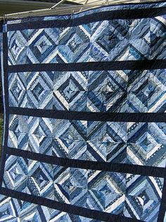 Denim Quilt  -Random Blues by sholdridge, via Flickr  String denim quilts - could do this or put into Roman stripes with khaki on the other side of the square.