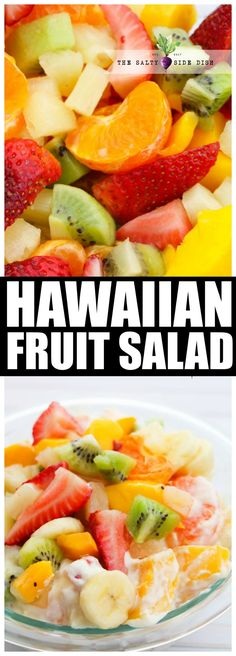 hawaiian food recipes Hawaiian Fruit Salad with Pudding Cheesecake Filling, a tropical dessert salad perfect for holiday side dish or bbq Hawaiian Fruit Salad, Tropical Fruit Salad, Best Fruit Salad, Hawaiin Food, Party Side Dishes, Holiday Side Dishes, Thanksgiving Side Dishes, Fruit Salads For Thanksgiving, Cheesecake Fruit Salad