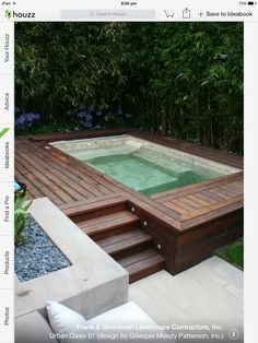 Outdoor Spa with miniature deck - perfect for wine glasses/nibbles.