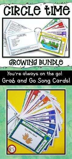 You're always on the go! Shouldn't your materials keep up with you? This set of over 100 song cards complete with lyrics and ideas for extended learning. Click here to get your set today! #circletime #morningmeeting #transitionalsongs #nurseryrhymes #songcards #grabandgo #tpt