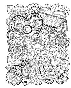 Free printable Valentine's Day coloring pages for use in your classroom and home from PrimaryGames. Print and color this Zentangle Hearts coloring page. Heart Coloring Pages, Mandala Coloring Pages, Coloring Sheets, Coloring Books, Colouring Pages For Adults, Free Adult Coloring, Printable Adult Coloring Pages, Valentines Day Coloring, Zentangle Patterns