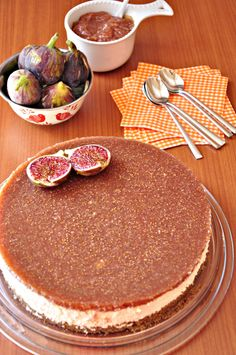 Cheesecake with a variety of greek cheese and fig sauce