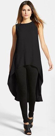 Drapey Black with Leggings Eileen Fisher Sleeveless Silk High-Low TunicEileen Fisher Sleeveless Silk High-Low Tunic Dress Outfits, Casual Outfits, Fashion Outfits, Womens Fashion, Summer Outfits, Dress Shoes, Black Leggings Outfit, Black Pants, Tunic Tops With Leggings
