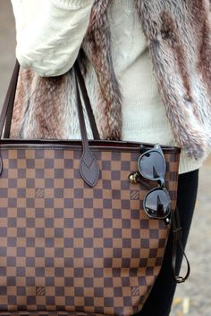 Fall Style: Faux fur vest & louis vuitton neverfull tote bag